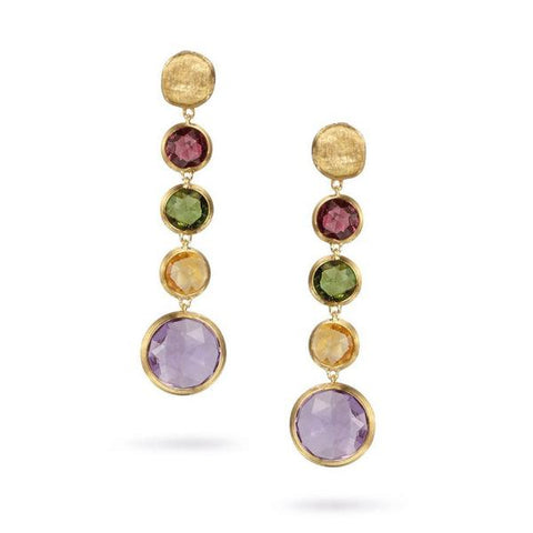 Jaipur Yellow Gold & Circle Mixed Gemstones Drop Earrings