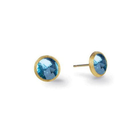 Jaipur Yellow Gold & Blue Topaz Petite Stud Earrings