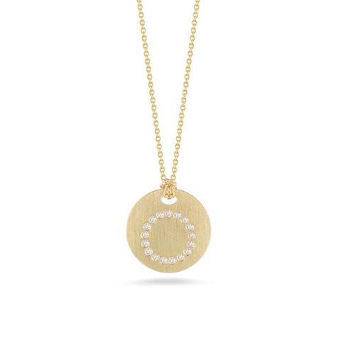 "Yellow Disc with Diamond Initial ""O"" Pendant"