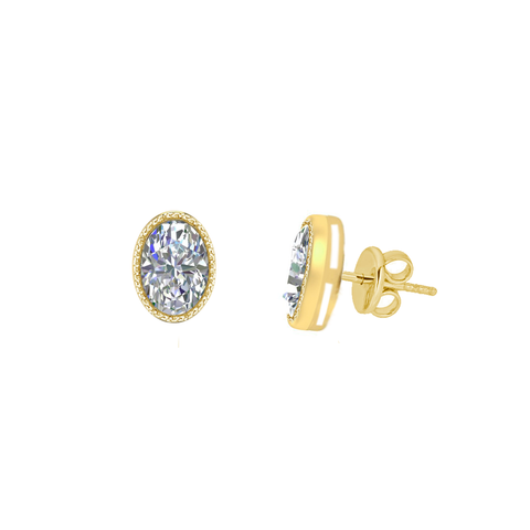 Oval Bezel Set Diamond Stud Earrings