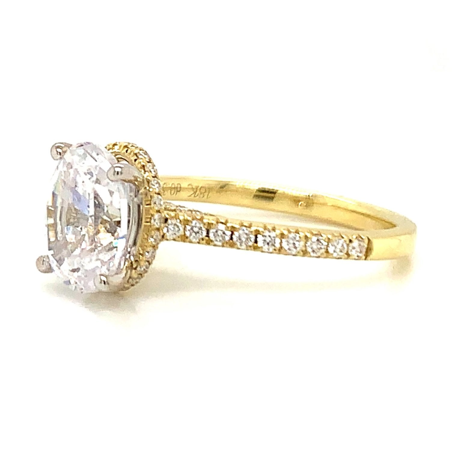 Hidden Crown Oval Pave Diamond Halo