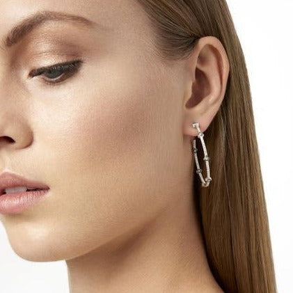 Arrow Station Hoop Earrings | Black Rhodium & Platinum on Sterling Silver