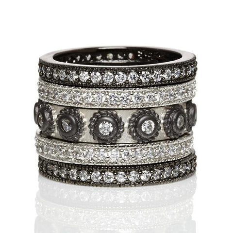 5 Band Studded Stack | Black Rhodium on Sterling Silver