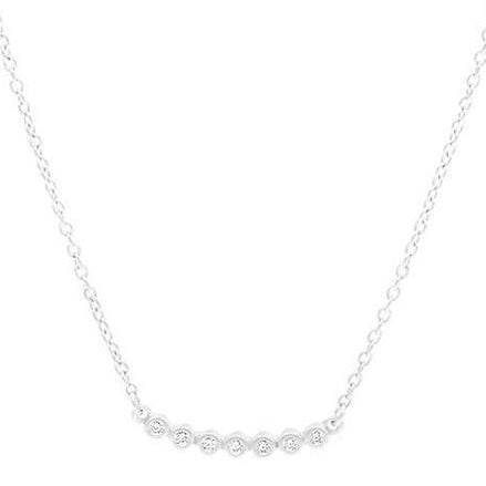 Bezel Horizontal Bar Necklace | Sterling Silver
