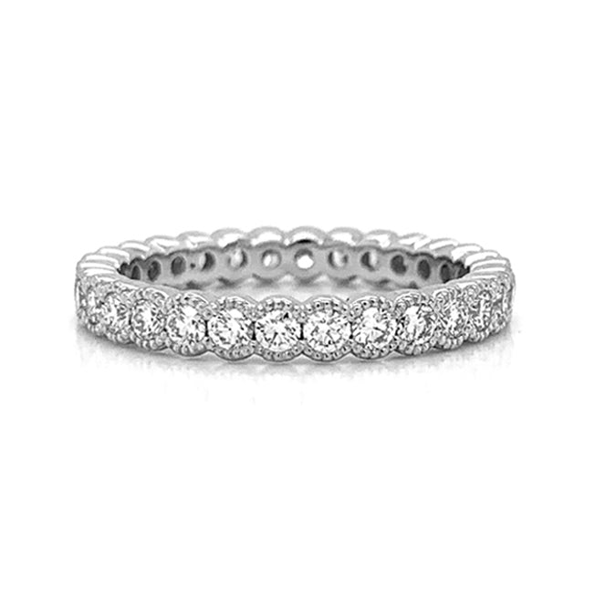 Medium Milgrain Eternity Half Bezel Set Diamond Band