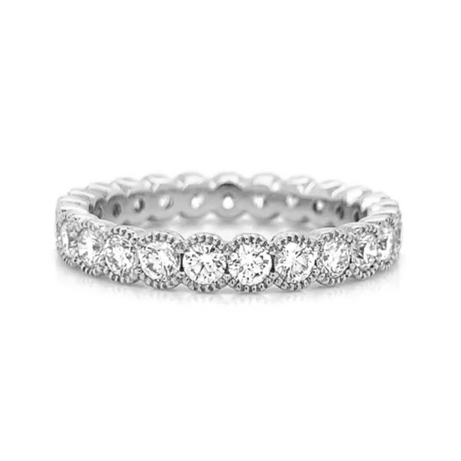 Large Milgrain Eternity Half Bezel Set Diamond Band
