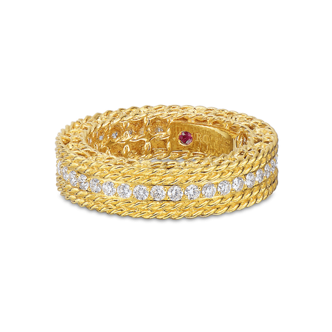 Princess Yellow Gold 3 Row Diamond Pave Ring