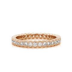Petite Milgrain Eternity Half Bezel Set Diamond Band