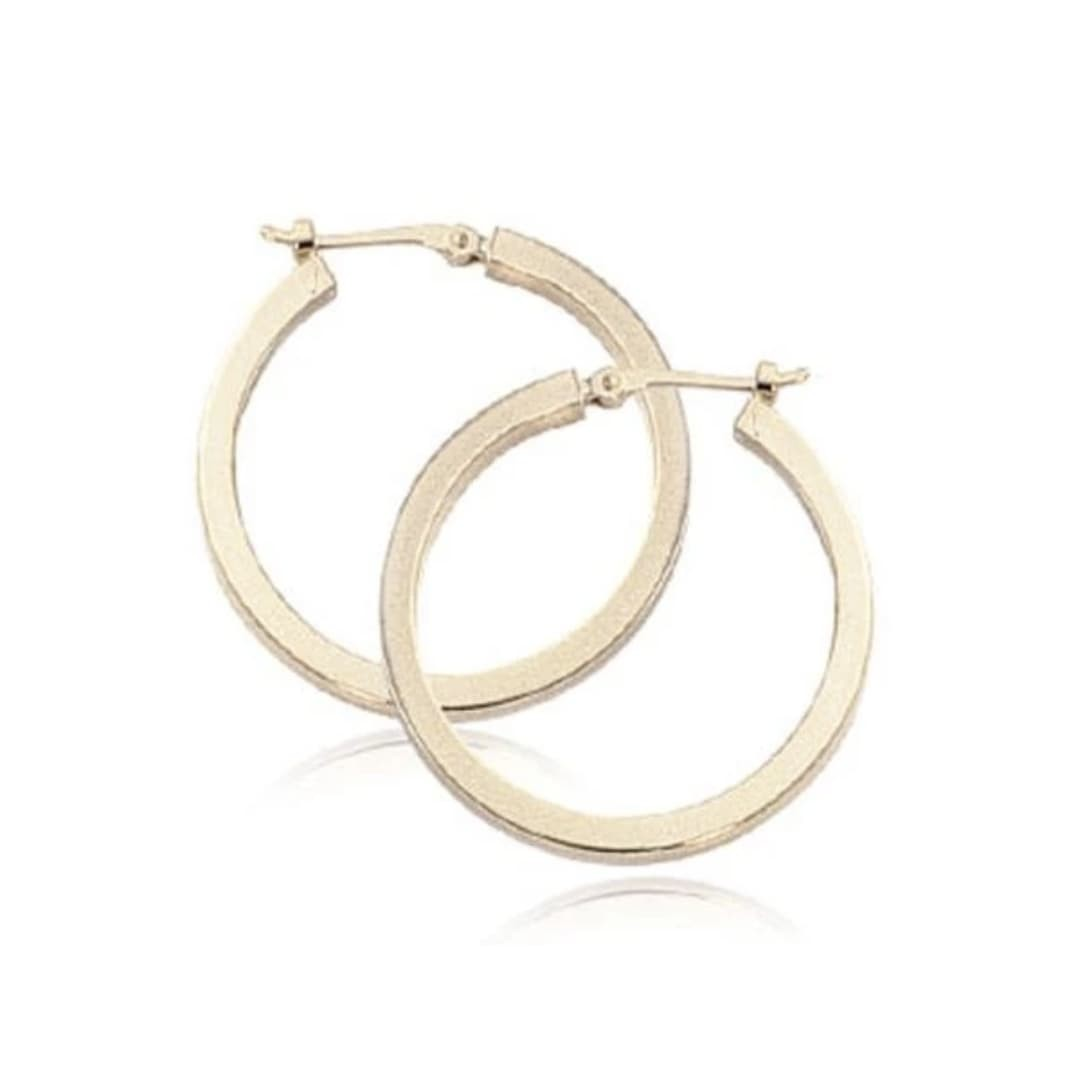 2x25mm Square Tube Hoop Earrings