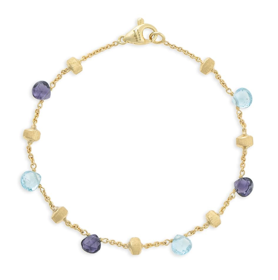 Paradise Yello Gold Iolite & Blue Topaz Single Strand Bracelet