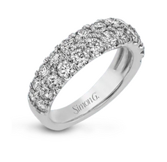 Classic White 3 Row Pave Band with Diamonds