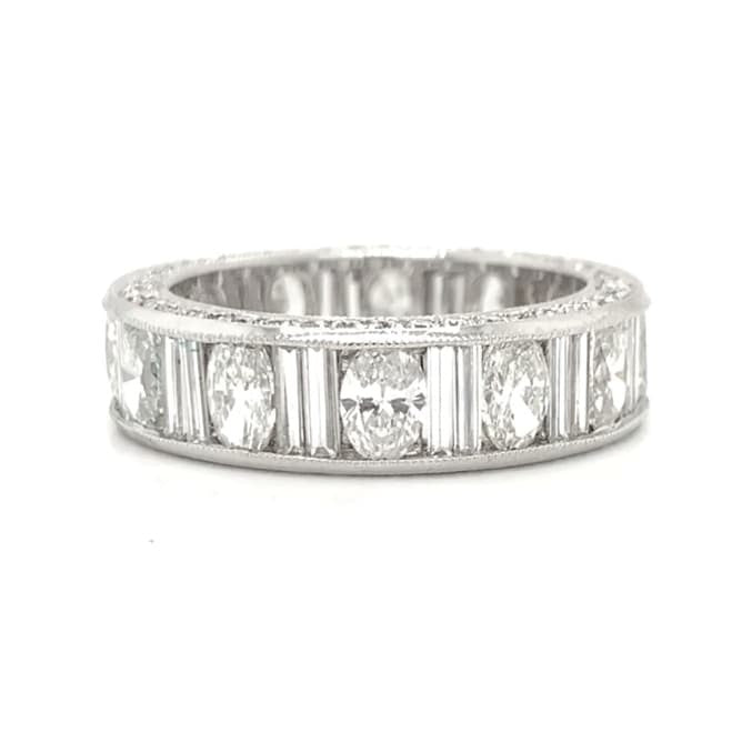 Platinum Eternity Oval & Baguette Alternating Diamond Band