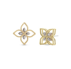 Princess Flower Petite Open Stud Yellow Earrings with Diamonds