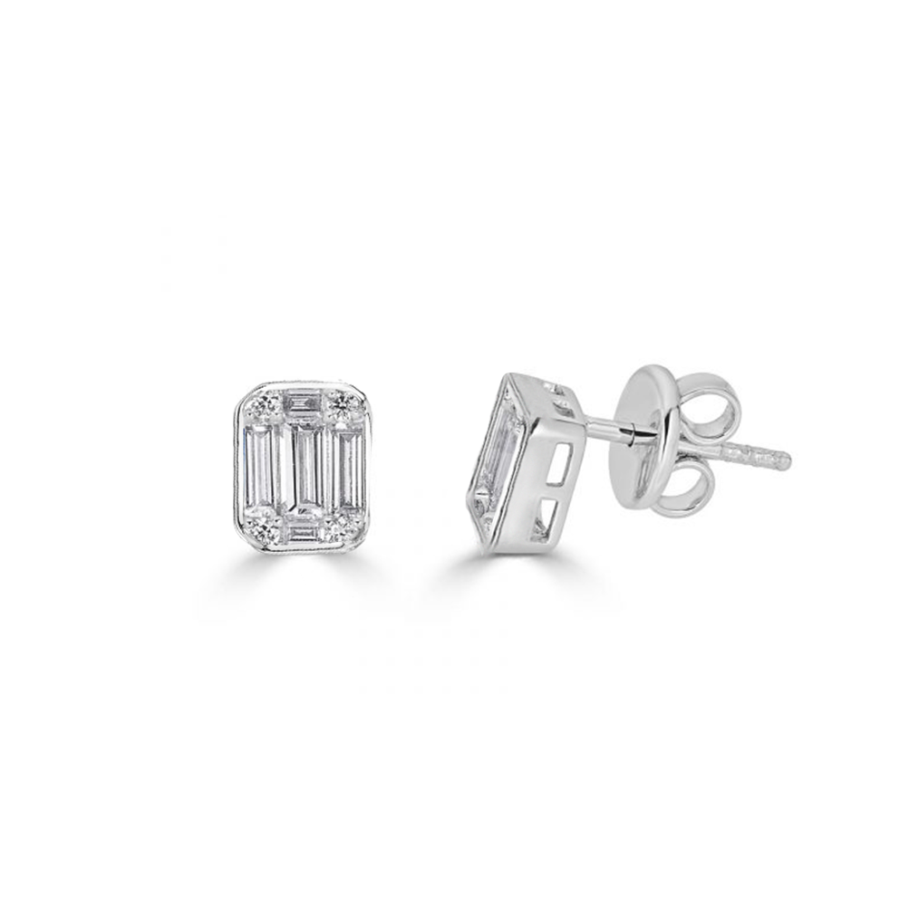 Small Illusion Emerald Cut Stud Earrings