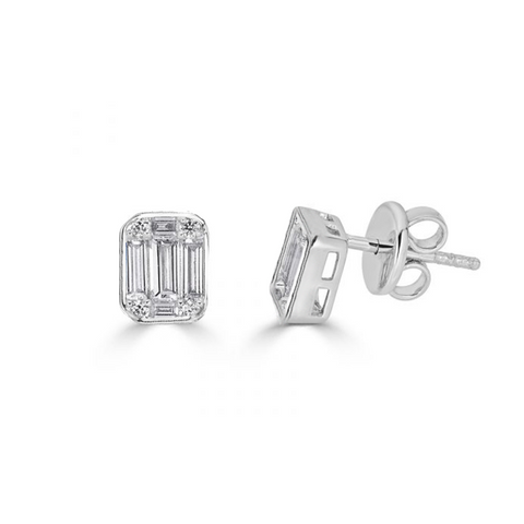 Medium Illusion Emerald Cut Stud Earrings