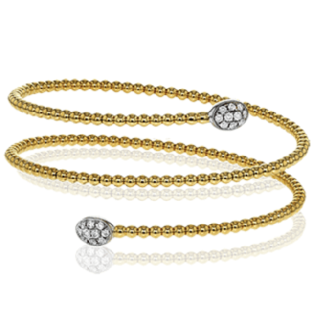 Wrapped Diamond Oval Pave Station Beaded Bangle