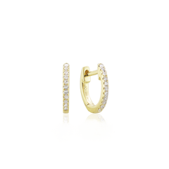 Tiny Classic Pave Huggie Hoops