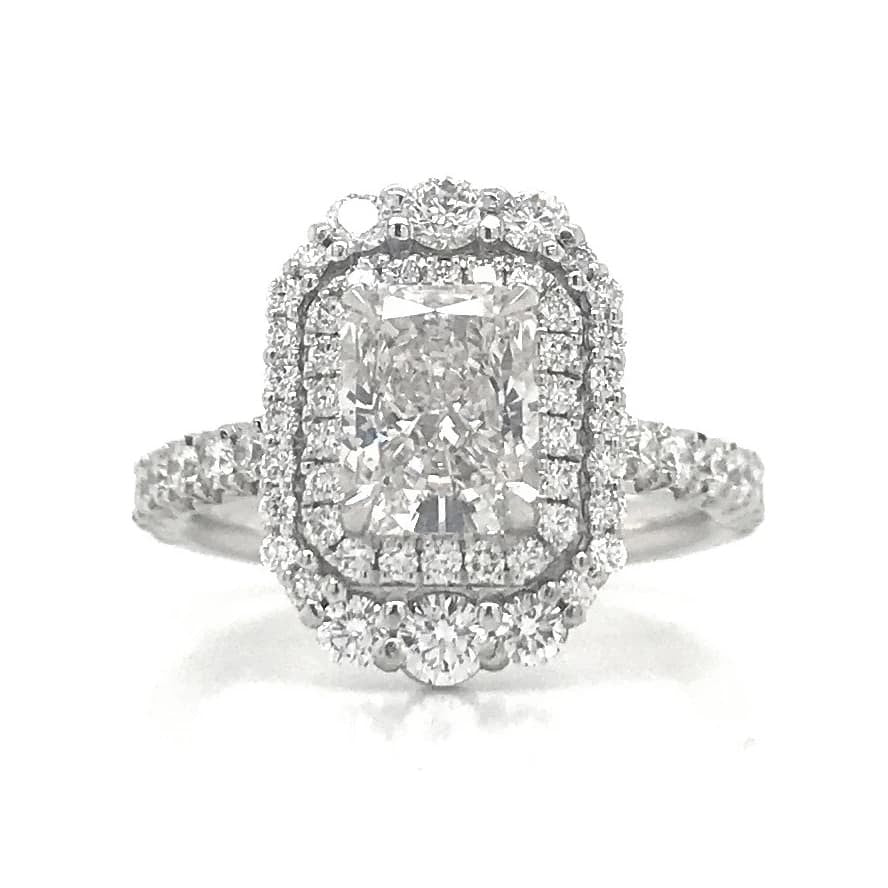 Double Halo French Pave Elongated Diamond Ring