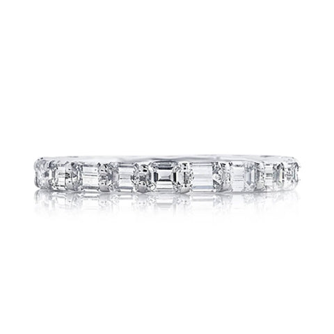 Platinum Prong Set Emerald Cut Half Way Diamond Band