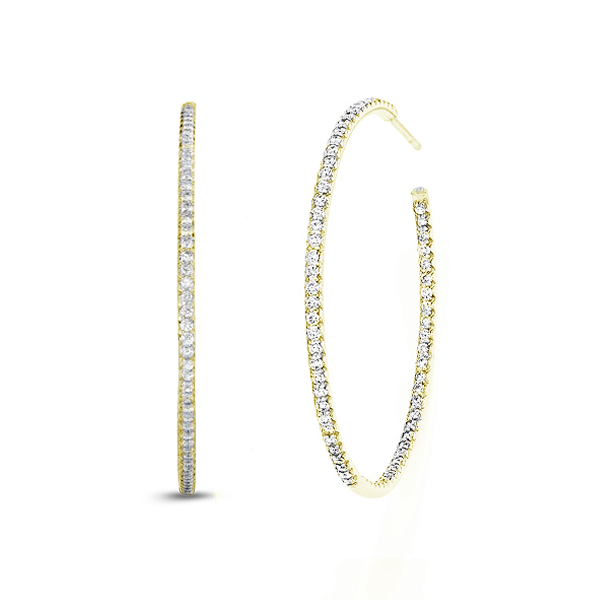 Classic Oval Delicate Inside Outside Diamond Pave Hoop