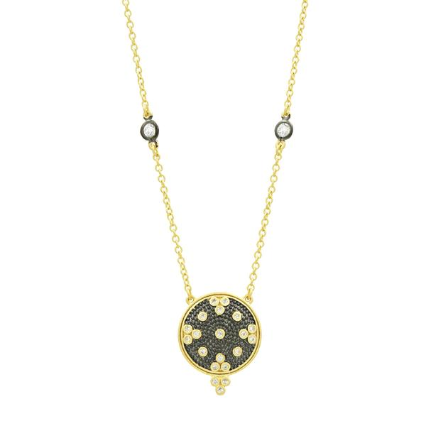 Clover Disc Pendant Necklace | Black Rhodium & 14K Gold on Sterling Silver
