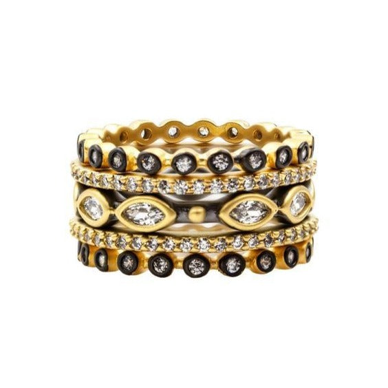 Signature Marquise 5 Band Stack | Black Rhodium & 14K Gold on Sterling Silver