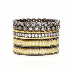 5 Band Mixed Stack | Black Rhodium & 14K Gold on Sterling Silver