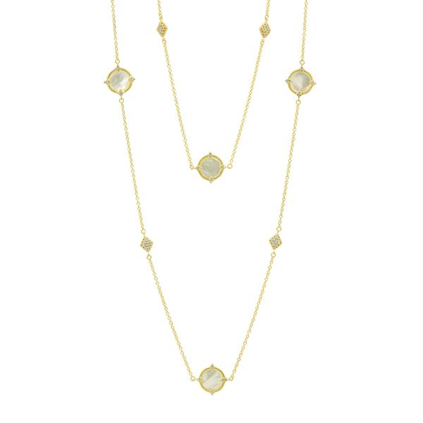 "White Mother of Pearl Bezel 36"" Necklace 