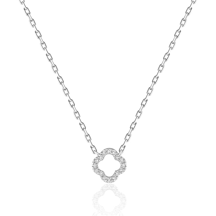 14K Open Mini Clover Diamond Pave Pendant