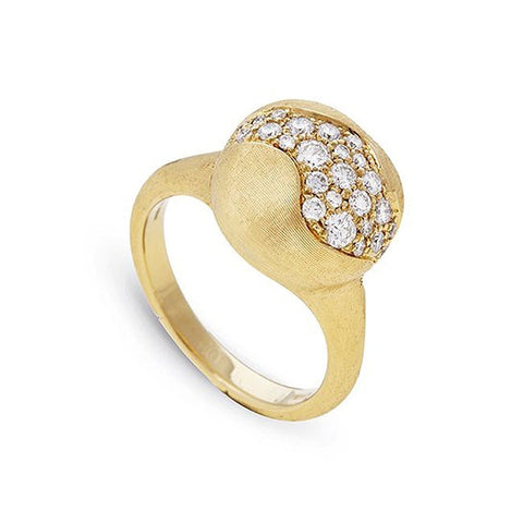 Africa Yellow Gold Medium Cocktail Ring with Diamonds