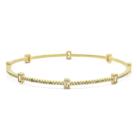Baguette Station Bezel Set Slide Bangle