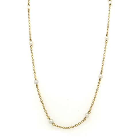 Pearl Station Yellow Gold Chain