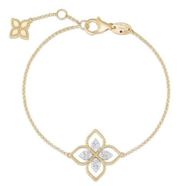 Princess Flower Station Diamond Chain Bracelet
