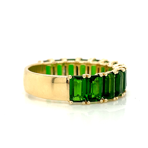 Emerald Cut Chrome Diopside Band | North to South 3/4 Set