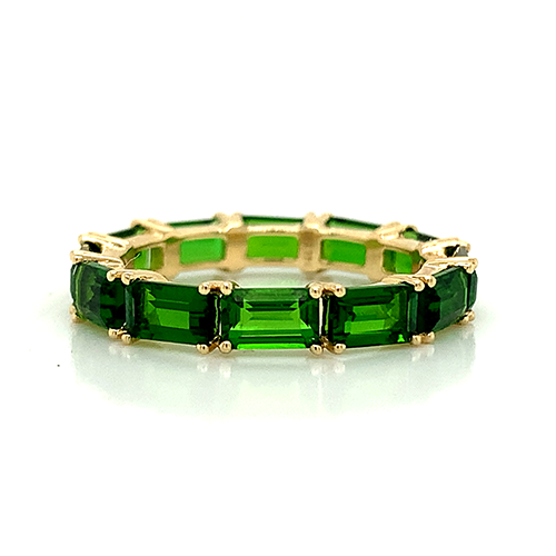 Emerald Cut Chrome Diopside Band | East to West Eternity