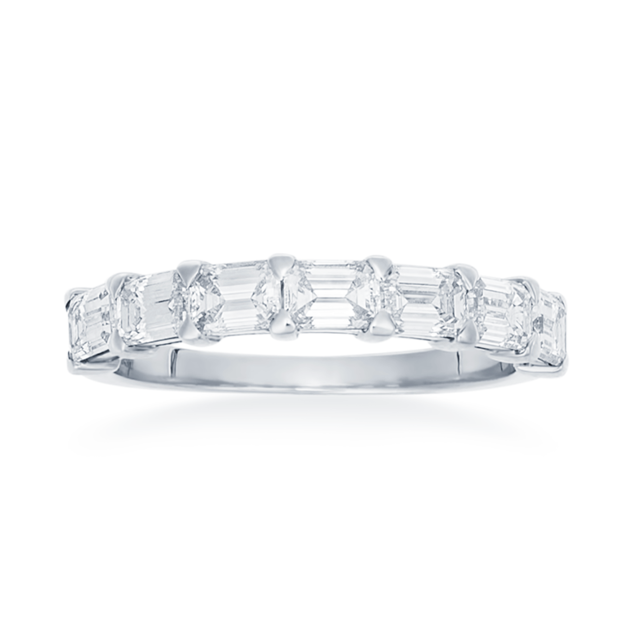 Emerald Cut East to West Prong Set Diamond Band