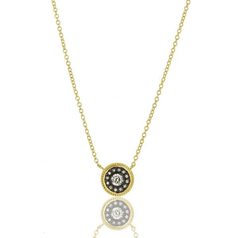 Bezel Cluster Disc Pendant | Black Rhodium & 14K Gold on Sterling Silver