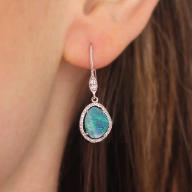 Opal & Diamond Pave Dangle Earrings