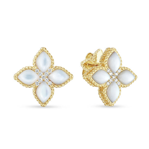 Princess Flower Medium Stud Yellow Earrings with Mother-of-Pearl & Diamonds