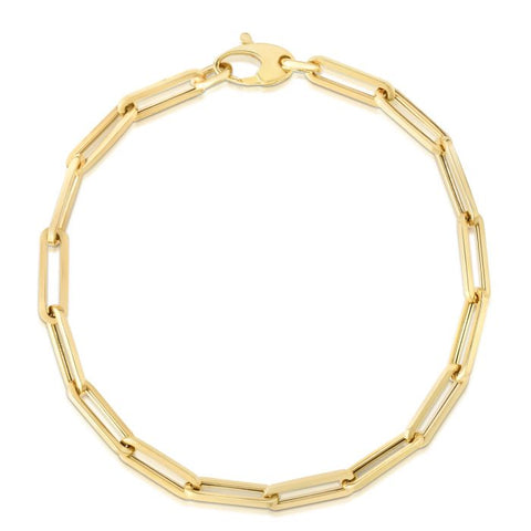 Large 4.2mm Paper Clip 14K Gold Chain Bracelet