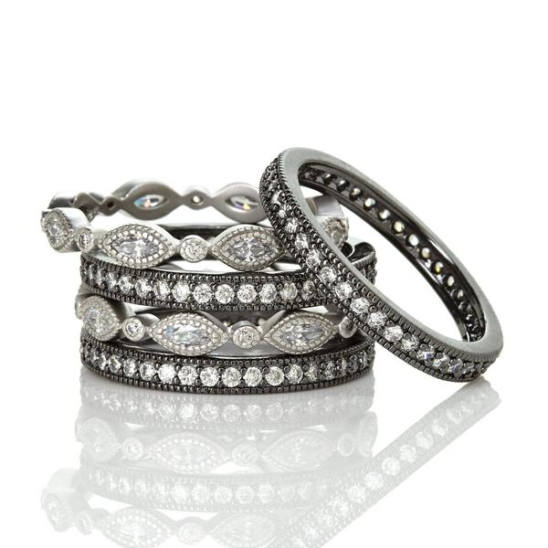 5 Band Everyday Stack | Black Rhodium & Platinum on Sterling Silver
