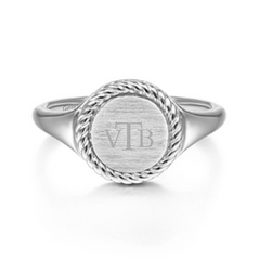 Engravable Round Rope Edge Signet Ring