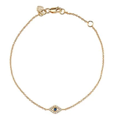 Tiny Evil Eye Diamond & Blue Sapphire Chain Bracelet