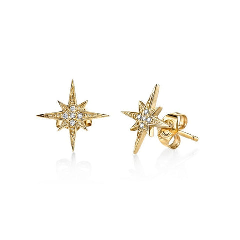 Starburst Stud Diamond Earrings