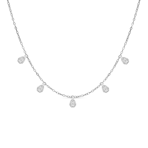 5 Station Pear Illusion Dangle Diamond Chain Necklace