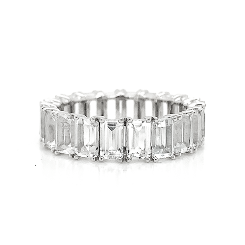 Eternity Emerald Cut White Topaz Band | North to South Set