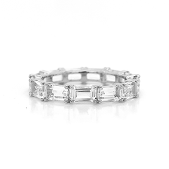 Eternity Emerald Cut White Topaz Band | East to West Set