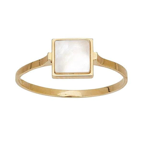 Yellow Mother of Pearl Square Ring