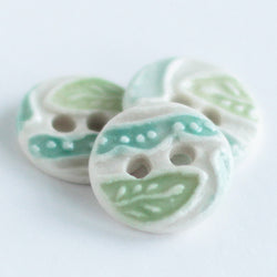 Leaf and Squiggle Porcelain Button