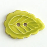 Scalloped leaf ceramic button, apple colorway